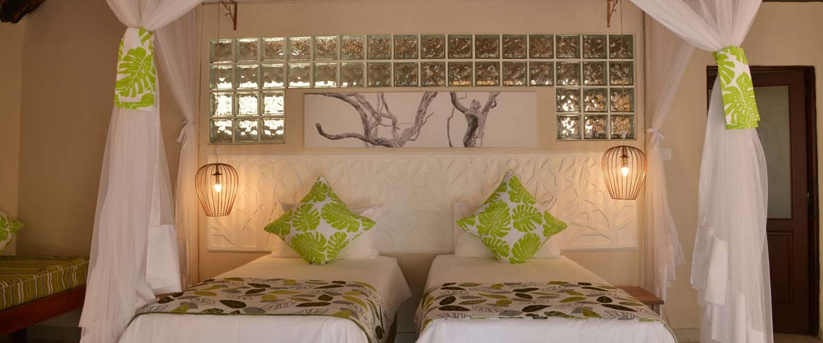 All lodges and suites are equipped with mosquito nets